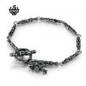 Silver skull bracelet stainless steel fleur-de-lis cross chain soft gothic