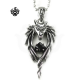 Silver wolf pendant swarovski crystal vintage style soft gothic necklace