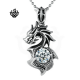 Dragon black simulated diamond vintage style soft gothic pendant necklace