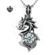 Dragon black simulated diamond vintage style soft gothic pendant necklace