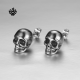 Silver stud solid stainless steel skull earrings soft gothic