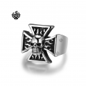 Silver skull fire cross ring stainless steel soft gothic punk