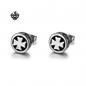 Silver stud stainless steel celtic cross earrings soft gothic