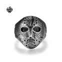 Silver biker ring Friday the 13th mask replica stainless steel band soft gothic