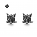 Silver stud stainless steel wolf knife earrings soft gothic