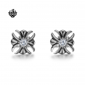 Silver stud swarovski crystal stainless steel cross Fleur-De-Lis earrings