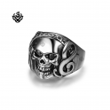 Silver bikies ring stainless steel Swarovski crystal skull band soft gothic punk