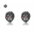 Silver stud swarovski crystal stainless steel lion earrings red eyes