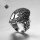 Silver biker ring stainless steel Swarovski crystal skull band soft gothic punk