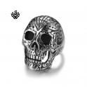 Silver bikies ring stainless steel tattooed skull band punk soft gothic