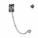 Silver ear cuff stainless steel Swarovski crystal stud woven pattern earring