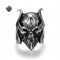 Silver biker ring skull stainless steel solid band soft gothic