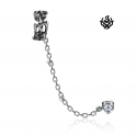 Silver ear cuff stainless steel Swarovski crystal stud filigree earring