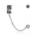 Silver ear cuff stainless steel Swarovski crystal stud crown earring