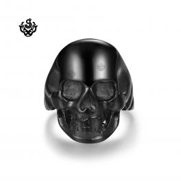 Black biker ring stainless steel skull simple classic soft gothic