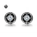 Silver stud swarovski crystal stainless steel Fleur-De-Lis earrings