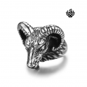 Siver bikies ring Occult Baphomet Ram Aries Zodiac Sheep Goat Head Horn gothic