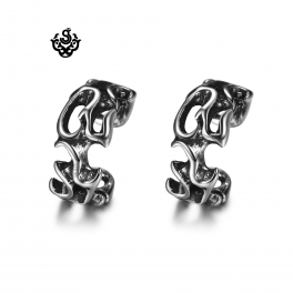 Silver Ear Cuff Clip On Non-Piercing Men Women filigree Earrings Stainless Steel