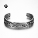 Silver Fleur-De-Lis bangle stainless steel boys women cuff bracelet simple