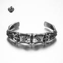 Silver skull bangle stainless steel boys women cuff bracelet small size