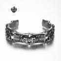 Silver skull bangle stainless steel boys women cuff bracelet