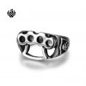 Silver bikies ring stainless steel boxing gloves hand buckle soft gothic
