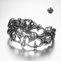 Silver biker bracelet stainless steel men skull Fleur-De-Lis cuff bangle