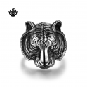 Silver biker ring stainless steel tiger jaguar band soft gothic