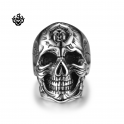 Silver biker ring stainless steel cracked skull band punk soft gothic US 13