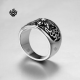 Details about Silver biker ring stainless steel flower band soft gothic