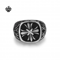 Silver biker ring stainless steel Fleur-De-Lis cross band soft gothic
