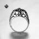 Silver biker ring stainless steel Fleur-De-Lis cross band soft gothic