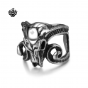 Silver bikies ring stainless steel Ram's goat head skull band soft gothic