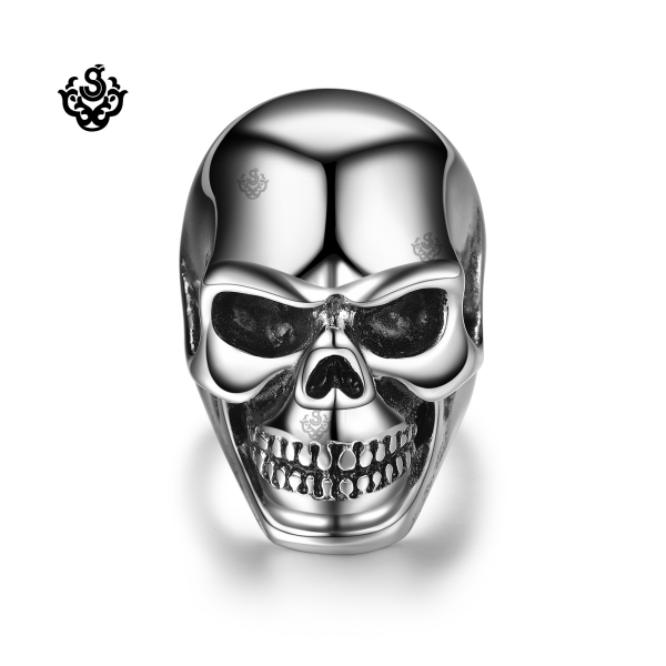 Silver Death Grim Reaper Skull Solid Ring Stainless Steel Band Soft Gothic Loading Zoom
