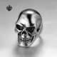 Silver biker ring stainless steel Ram's goat head skull band soft gothic