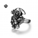 Silver bikies ring stainless steel ripper death band soft gothic punk