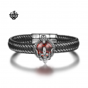 Silver black leather skull bangle stainless steel red CZ handmade bracelet