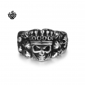 Silver biker ring stainless steel skull king crown band soft gothic punk