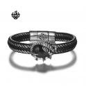 Silver black leather Scorpion bangle stainless steel black CZ handmade bracelet