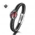 Silver black leather Scorpion bangle stainless steel redCZ handmade bracelet