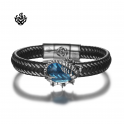 Silver black leather Scorpion bangle stainless steel blue CZ handmade bracelet
