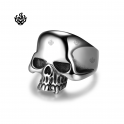 Silver bikies ring stainless steel skull band soft gothic punk