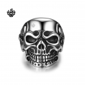 Silver biker ring stainless steel skull band soft gothic punk