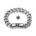 Silver biker bracelet stainless steel men women Fleur-De-Lis cross chain 21cm