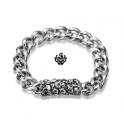 Silver biker bracelet stainless steel mens skull chain 21cm soft gothic