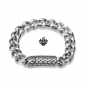 Silver bracelet stainless steel mens chain 21cm soft gothic special