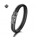 Silver black leather Celtic cross bangle stainless steel handmade bracelet