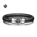Silver black leather Fleur-de-lis bangle stainless steel handmade bracelet