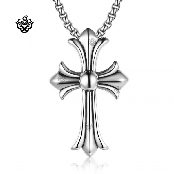 Pendants silver cross pendant stainless steel rolo chain necklace large loading zoom aloadofball Image collections