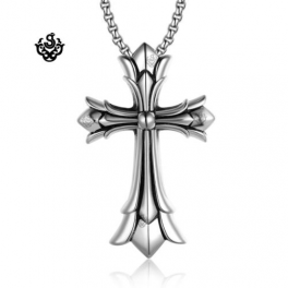 Pendants silver cross pendant stainless steel rolo chain necklace extra large aloadofball Images